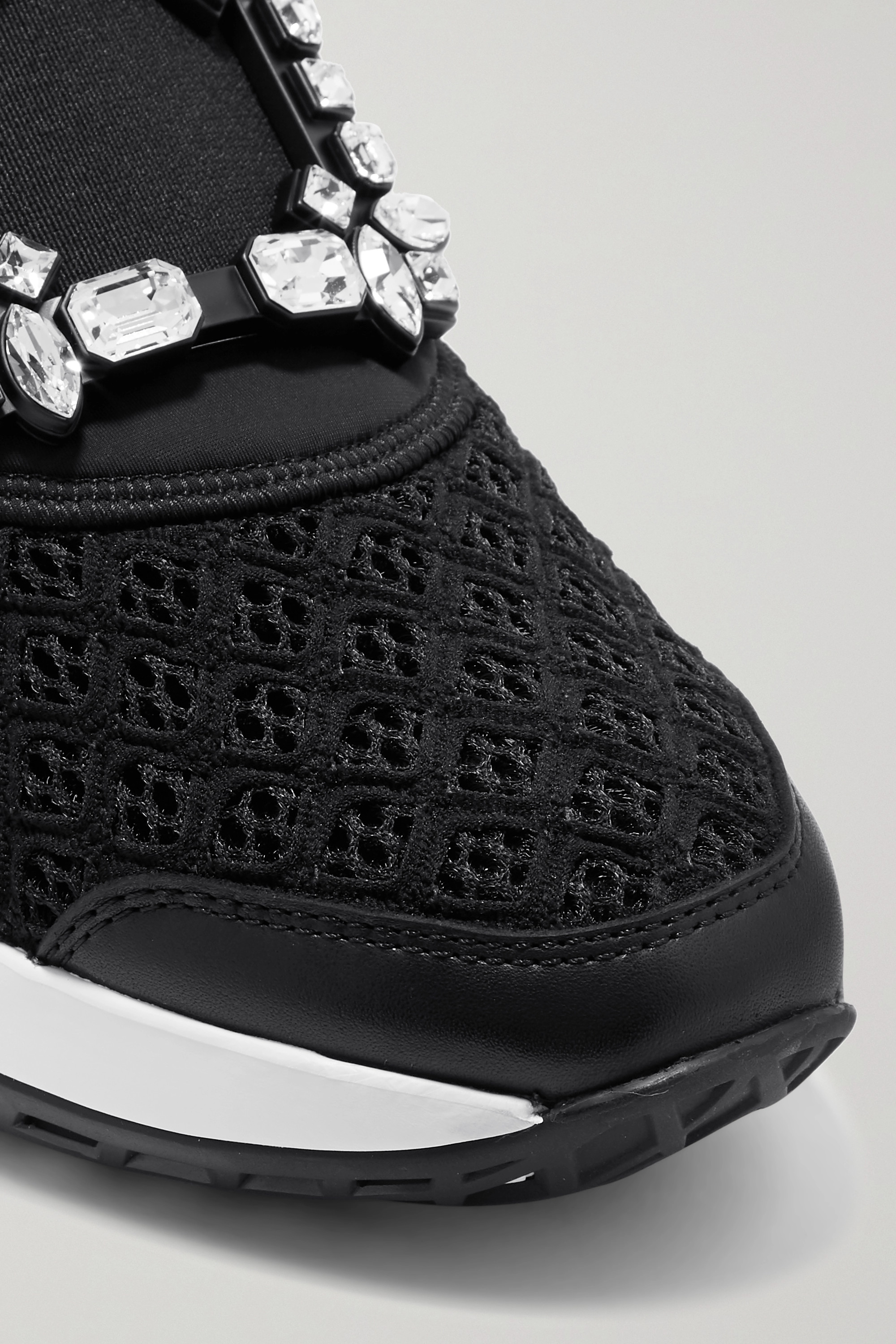 Roger Vivier Viv Run crystal-embellished neoprene, mesh and leather sneakers