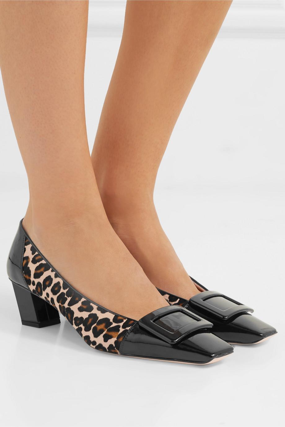 Roger Vivier Belle Vivier Decollete leopard-print calf hair and patent-leather pumps