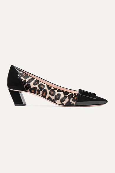 Roger Vivier Pumps Belle Vivier Decollete leopard-print calf hair and patent-leather pumps