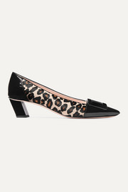 Belle Vivier Decollete leopard-print calf hair and patent-leather pumps