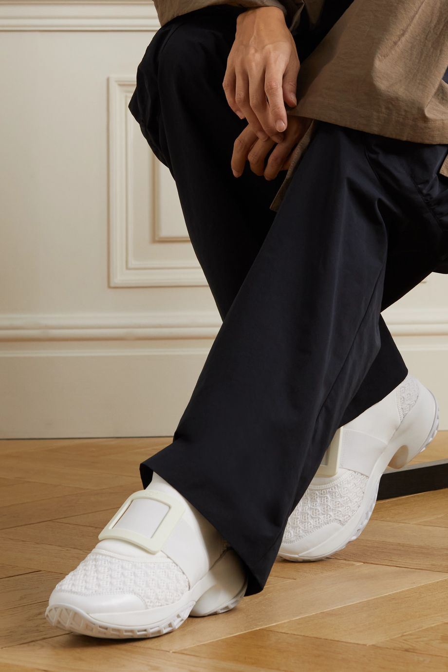 Roger Vivier Viv Run neoprene, mesh and leather sneakers
