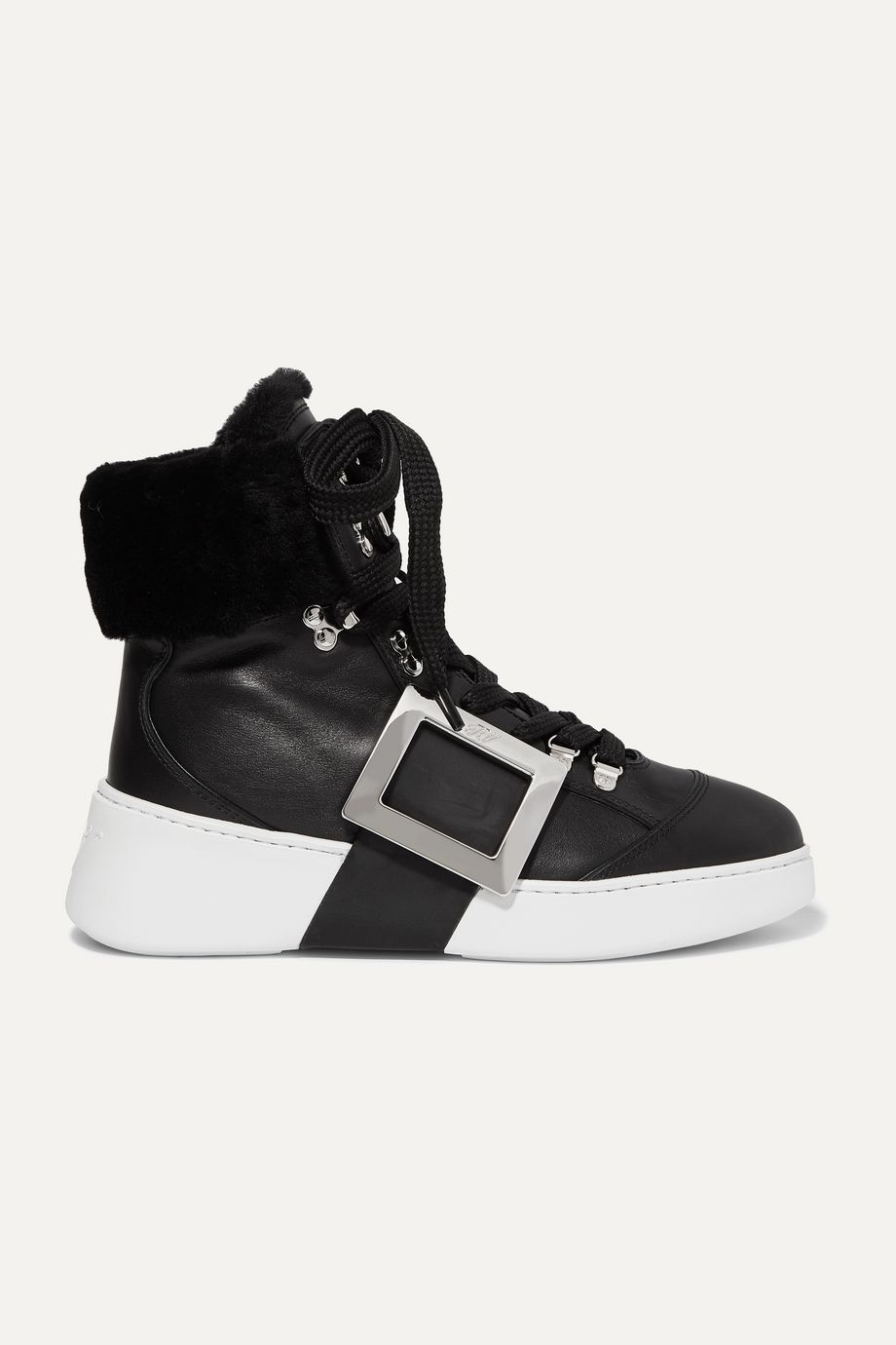 Roger Vivier Skate embellished shearling-trimmed leather sneakers