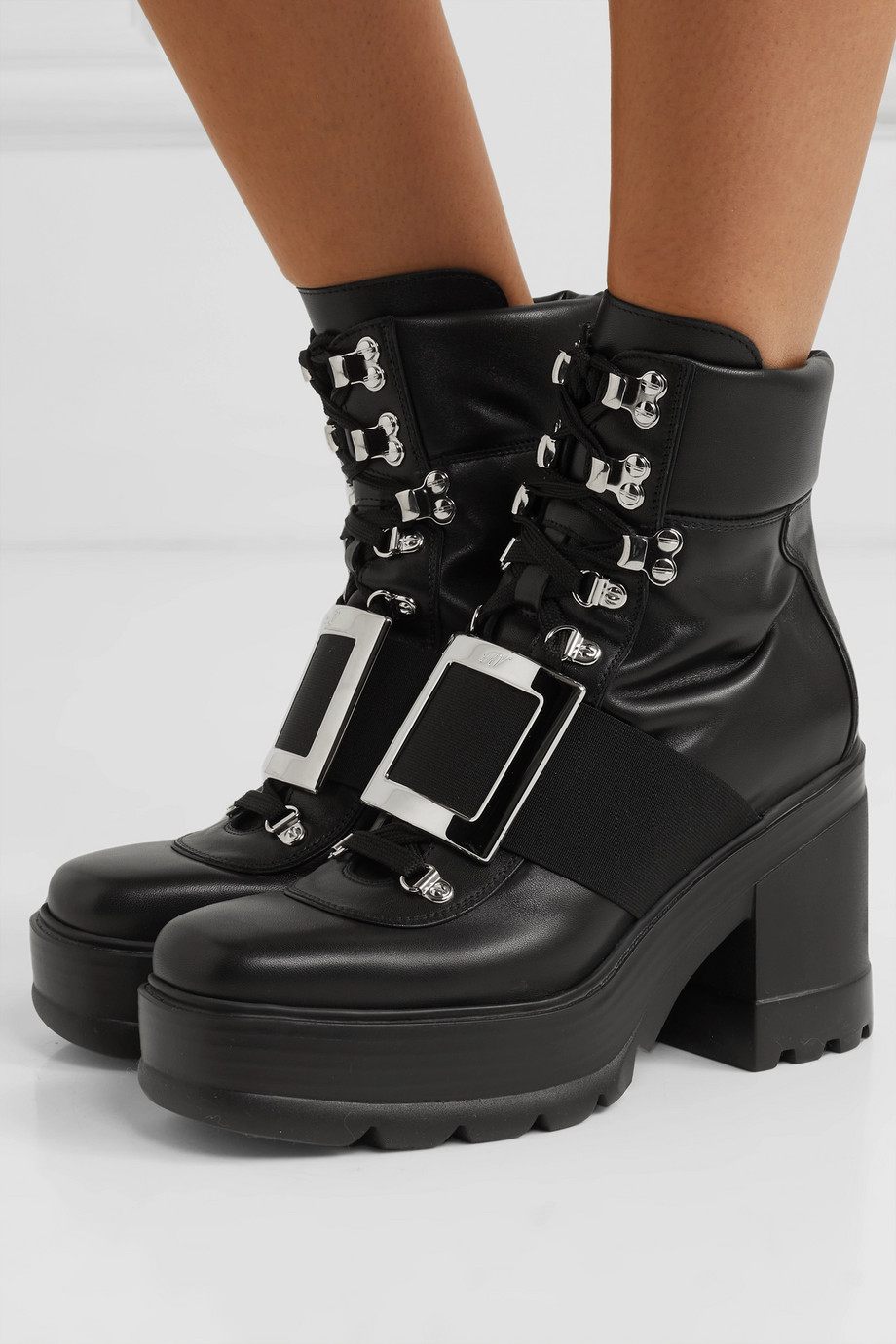 Roger Vivier Utility embellished leather ankle boots