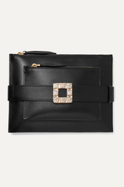 Roger Vivier Convertible crystal-embellished leather clutch