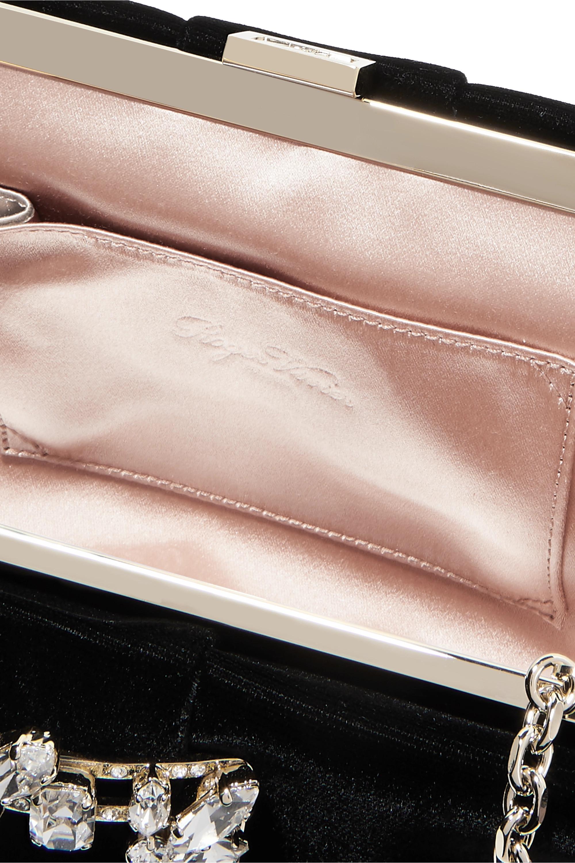 Roger Vivier Crystal-embellished velvet clutch