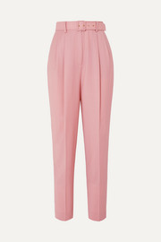 Emilia Wickstead + The Woolmark Company Gus belted pleated merino wool straight-leg pants