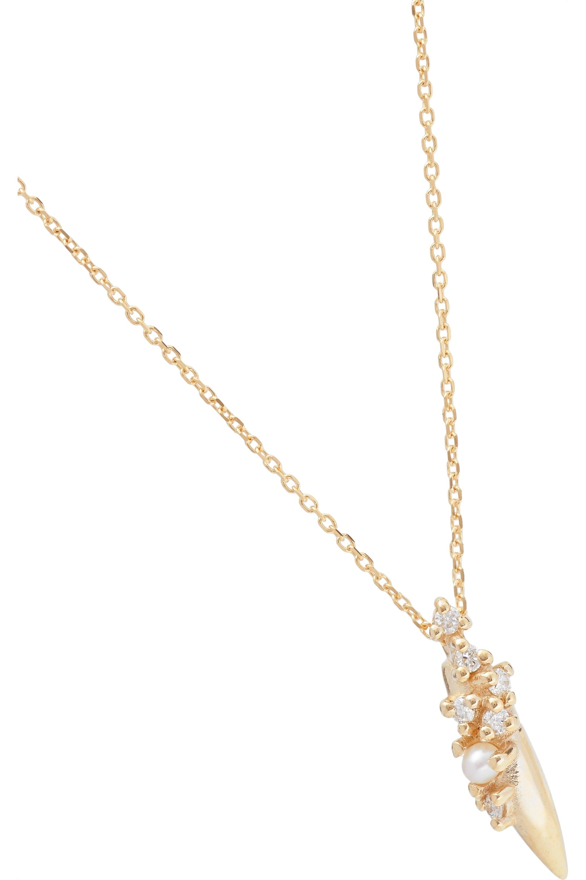 SARAH & SEBASTIAN Coral Relic 10-karat gold, diamond and pearl necklace