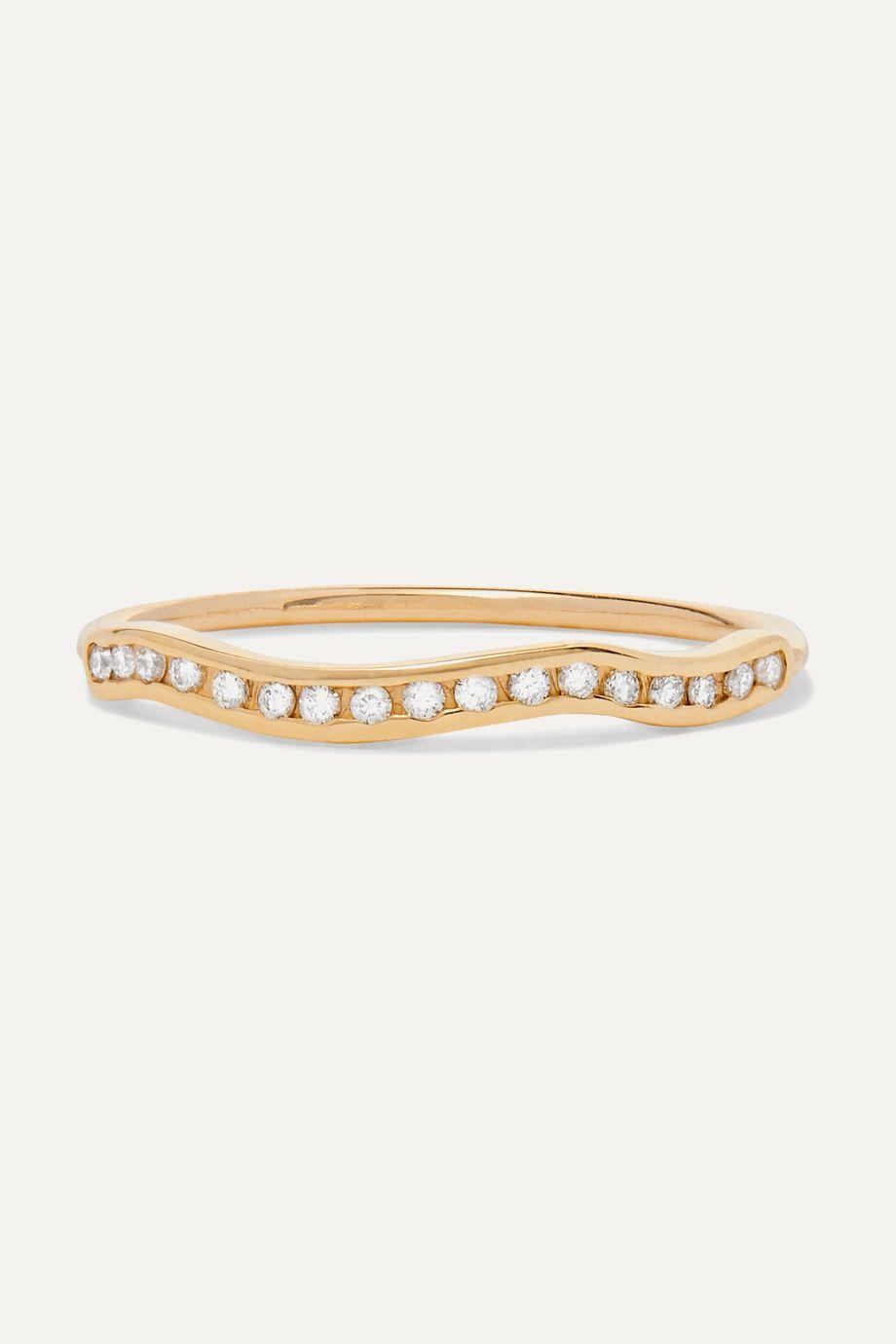 SARAH & SEBASTIAN Kintsugi Line Ring aus Gold mit Diamanten