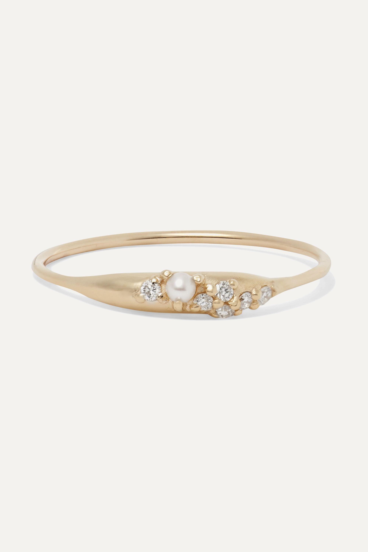 SARAH & SEBASTIAN Coral Relic Ring aus Gold mit Diamanten und Perle