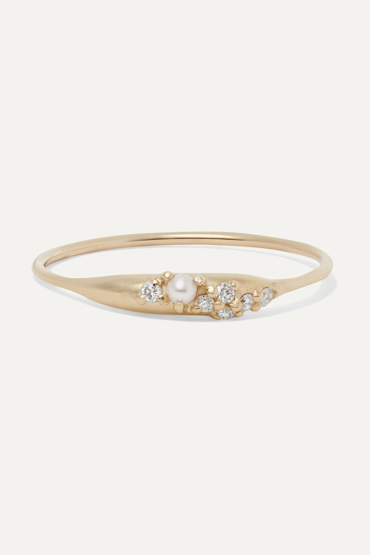 SARAH & SEBASTIAN Coral Relic gold, diamond and pearl ring