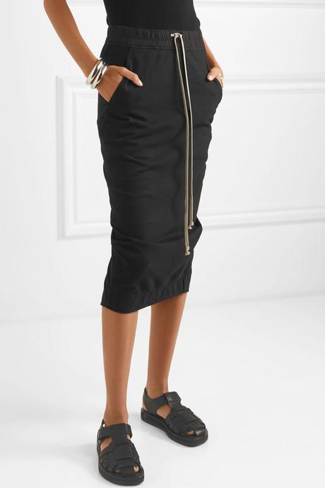 Draped cotton-jersey midi skirt