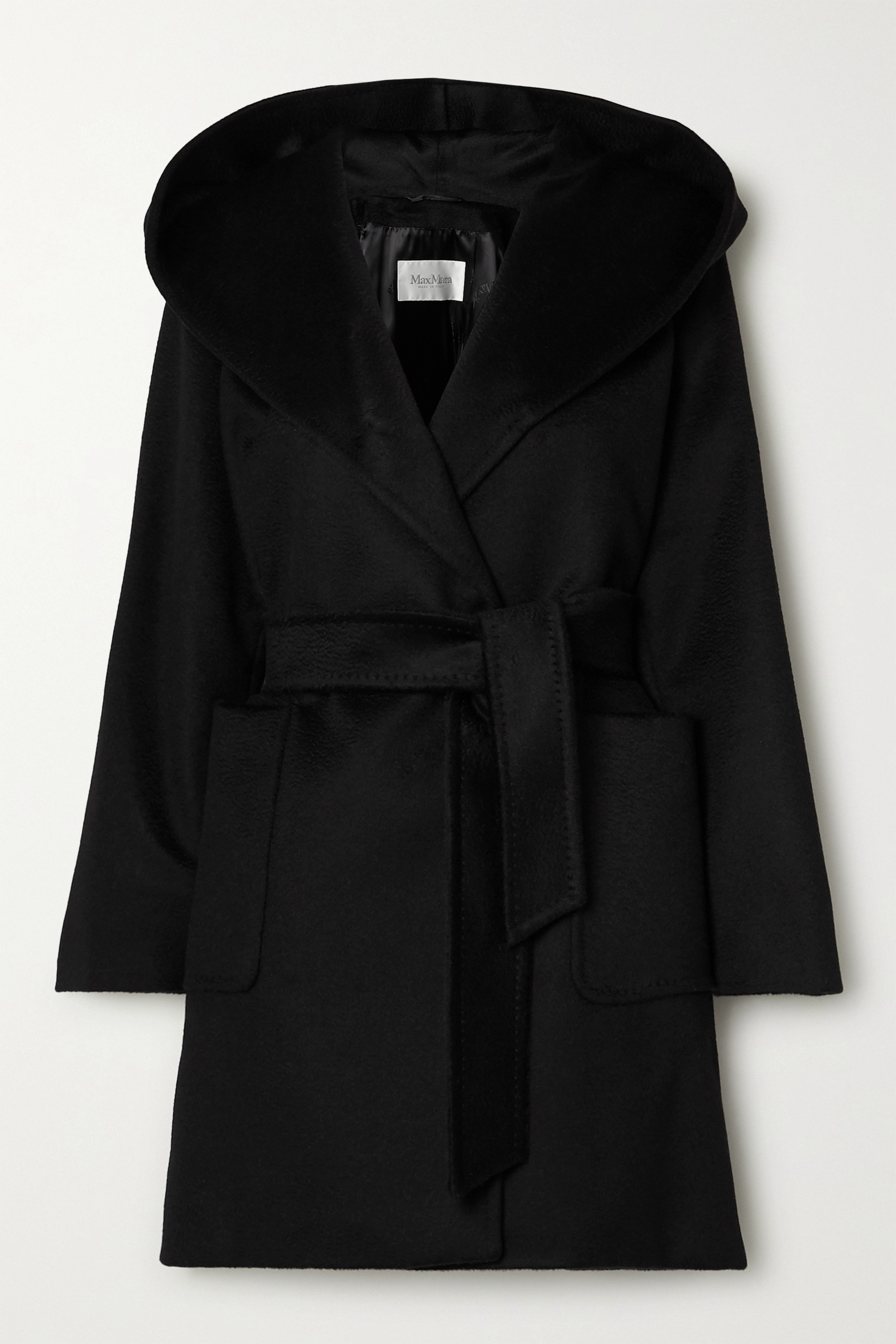 Max Mara Rialto hooded belted camel hair coat