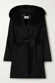 Rialto hooded belted camel hair coat