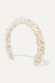 Bleeker faux pearl-embellished gold-tone, satin and tulle headband