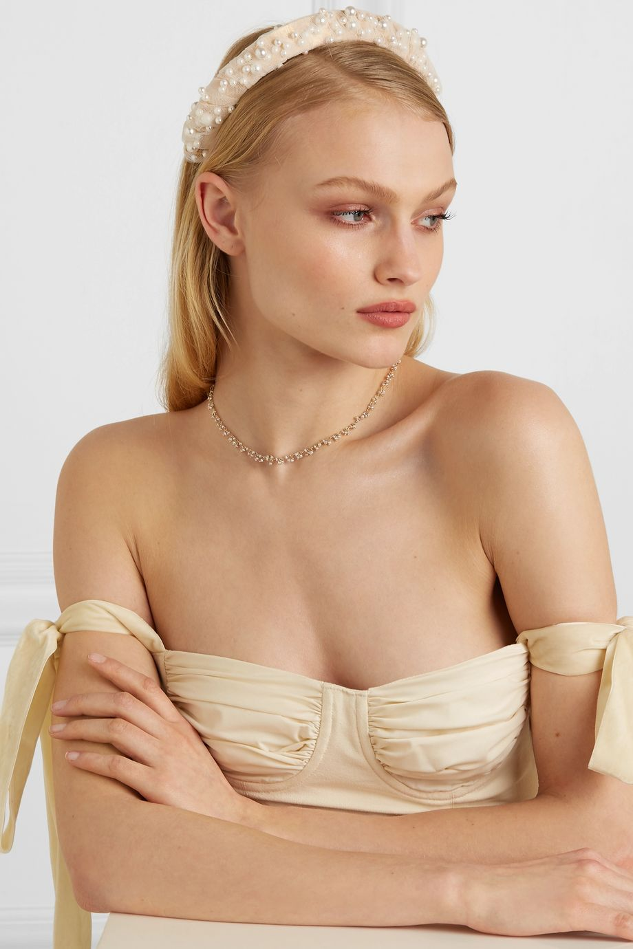 LELET NY Bleeker faux pearl-embellished gold-tone, satin and tulle headband