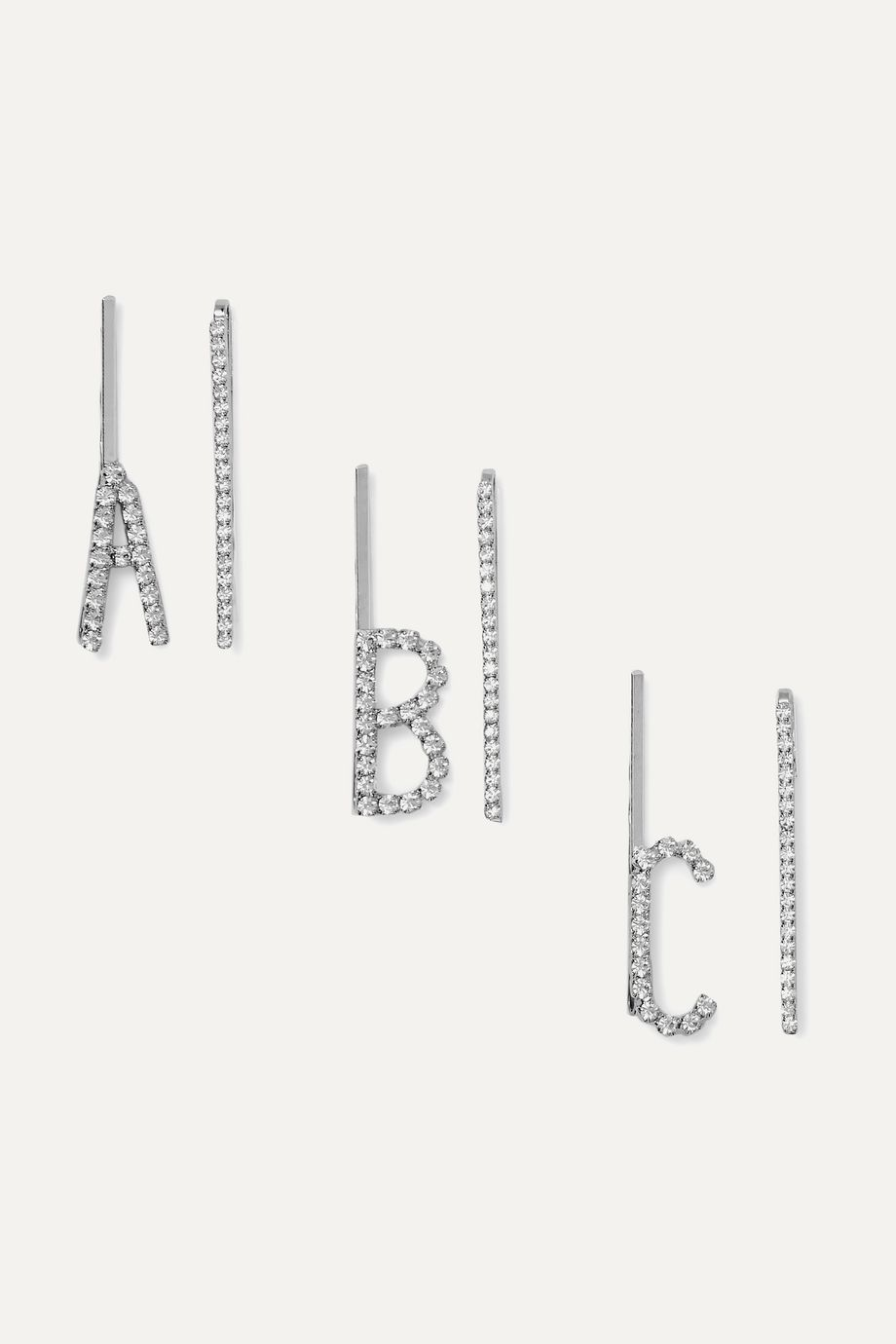 LELET NY Alphabet set of two silver-tone crystal hair slides