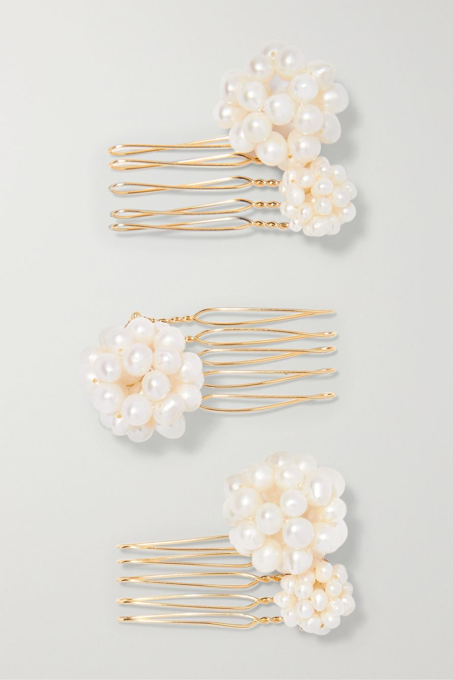 LELET NY Set of three gold-tone pearl hair slides