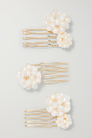 Set of three gold-tone pearl hair slides