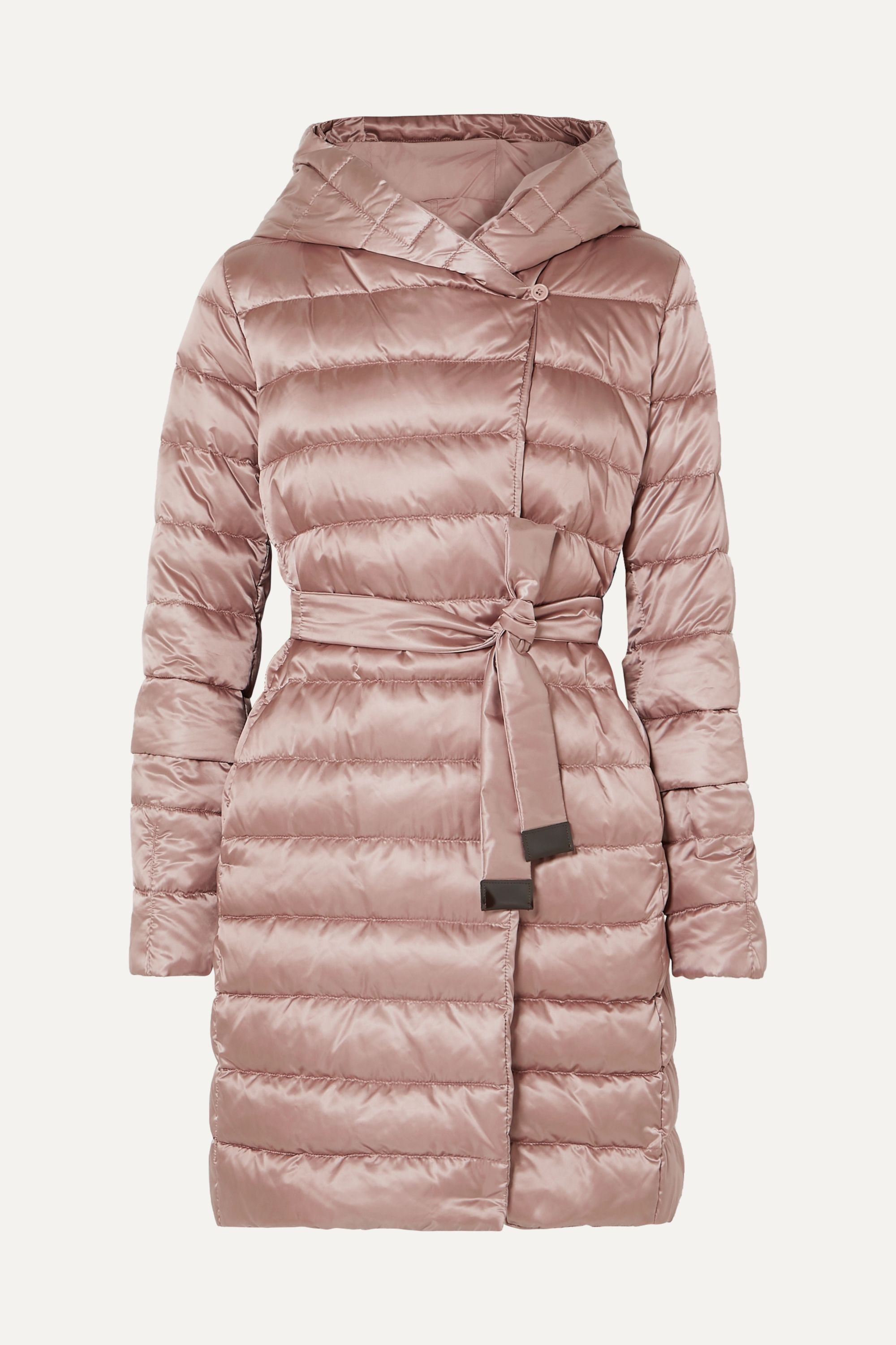 Max Mara The Cube hooded belted quilted shell down coat