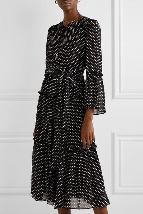Tiered polka-dot chiffon midi dress