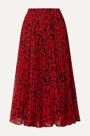 MICHAEL Michael Kors Pleated printed fil coupé georgette midi skirt