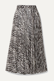 MICHAEL Michael Kors Pleated zebra-print georgette midi skirt