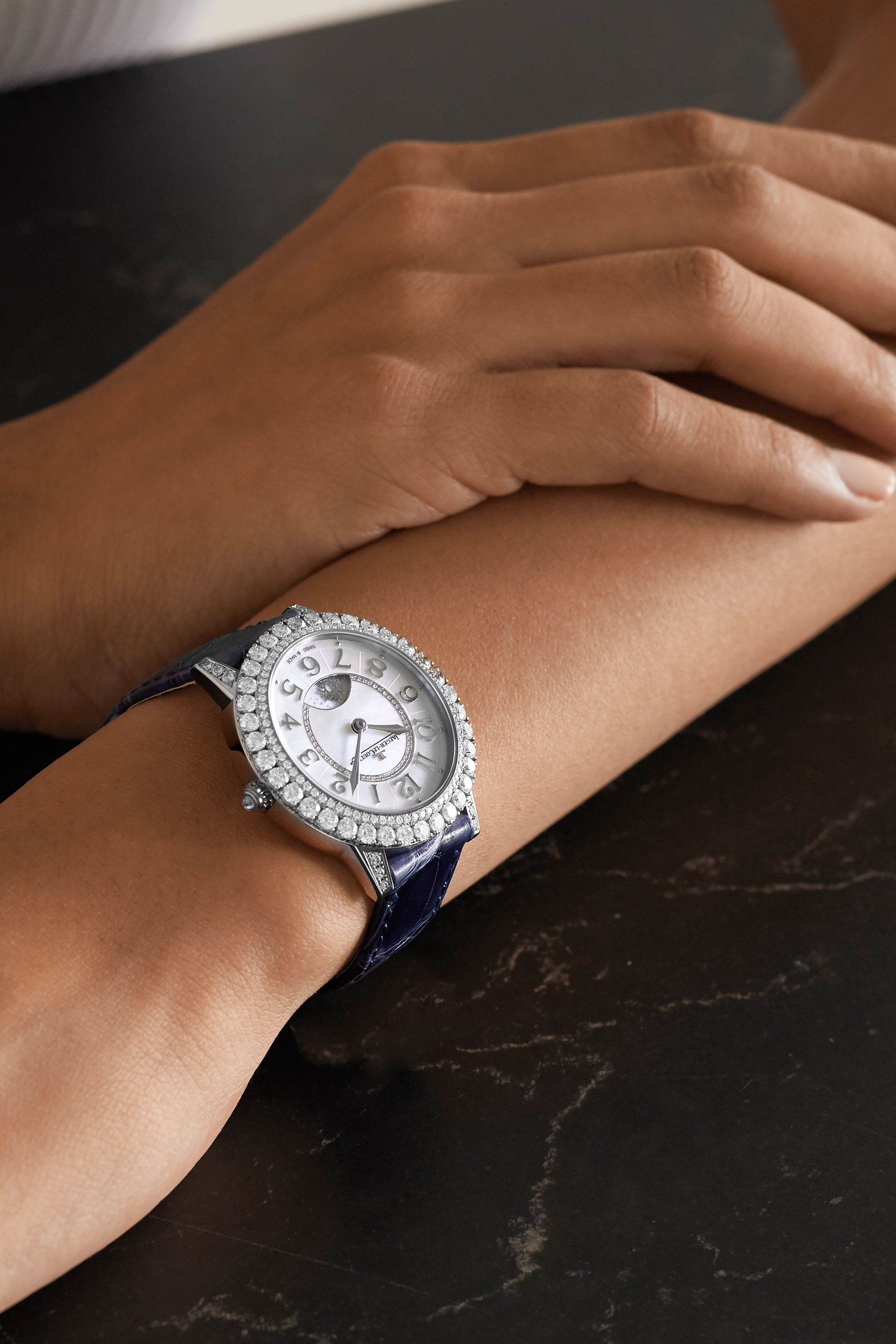 Jaeger-LeCoultre Rendez-Vous Night & Day 36mm 18-karat white gold, mother-of-pearl, diamond and alligator watch