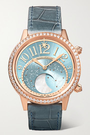 Rendez-Vous Moon Serenity Automatic 36mm 18-karat rose gold, alligator and diamond watch
