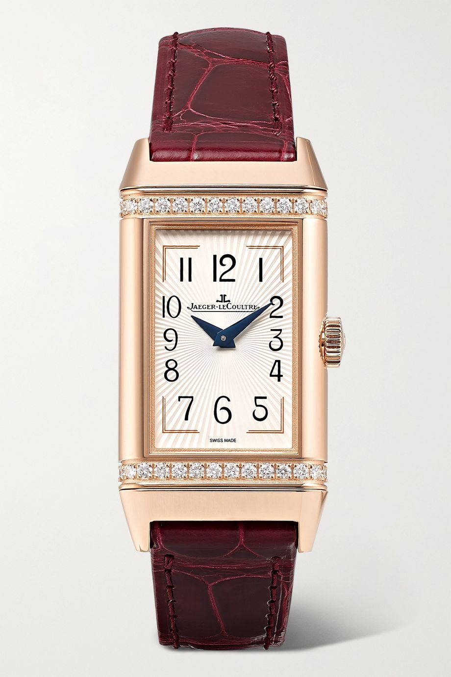 Jaeger-LeCoultre Reverso One Duetto 20 毫米玫瑰金钻石腕表(短吻鳄鱼皮表带)