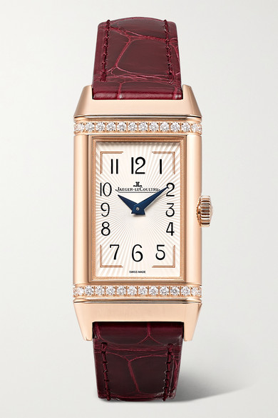 Reverso One Duetto 20mm Rose Gold, Diamond And Alligator Watch by Jaeger Le Coultre