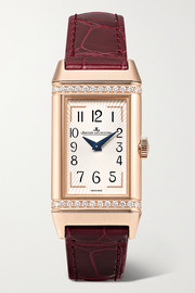 Reverso One Duetto 20mm rose gold, diamond and alligator watch