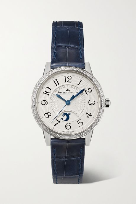 Silver Rendez-Vous Moon Automatic 29mm medium stainless steel, alligator and diamond watch | Jaeger-LeCoultre 2cW5Pz