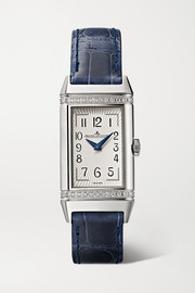 Reverso One Duetto 20mm stainless steel, diamond and alligator watch