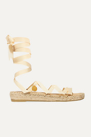 Lion Medallion embellished grosgrain and canvas espadrilles