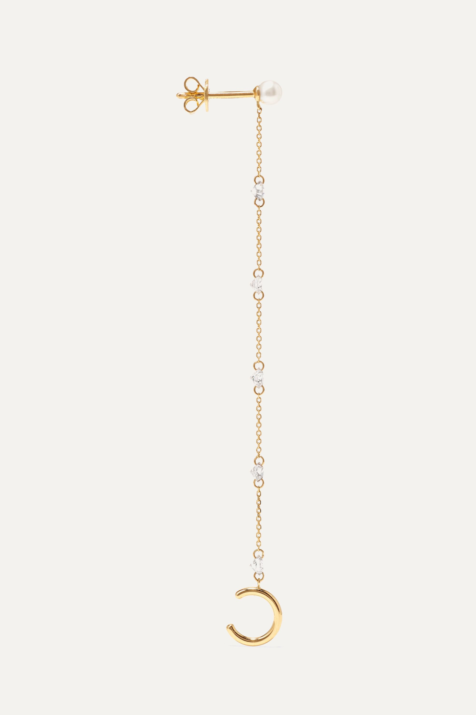 Persée 18-karat gold, diamond and pearl earring