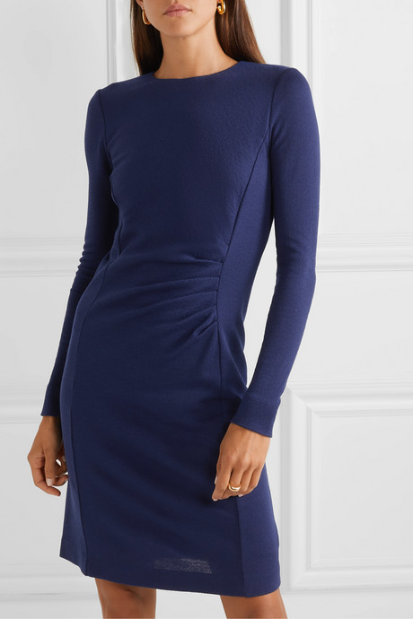 Colimbo ruched wool-crepe dress