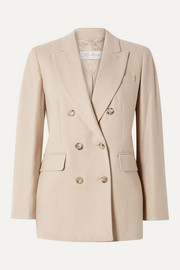 Max Mara Double-breasted camel hair and cashmere-blend blazer