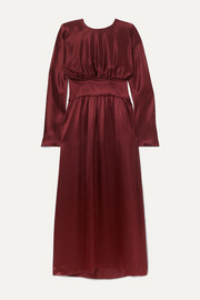 Hermine gathered silk-satin maxi dress