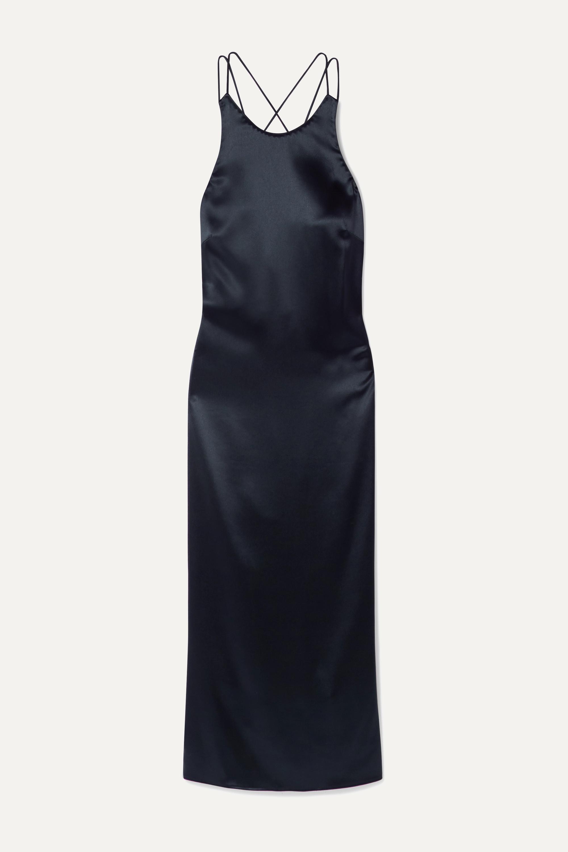 Deveaux Draped hammered-satin midi dress