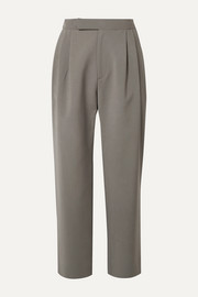 Deveaux Isabella cropped pleated woven straight-leg pants