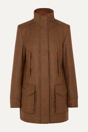 Checked wool-tweed coat