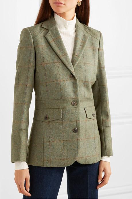 Checked wool-tweed blazer