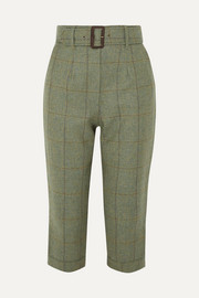 Cropped checked wool-tweed straight-leg pants