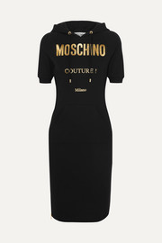 Moschino Hooded metallic printed cotton-blend jersey dress