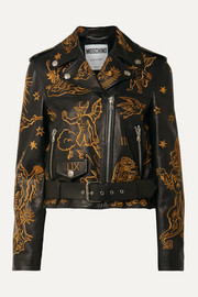 Moschino Embroidered leather biker jacket