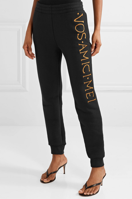 Embroidered stretch-terry track pants