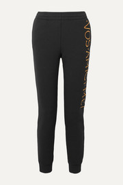 Moschino Embroidered stretch-terry track pants