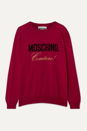 Moschino Embroidered intarsia cotton sweater