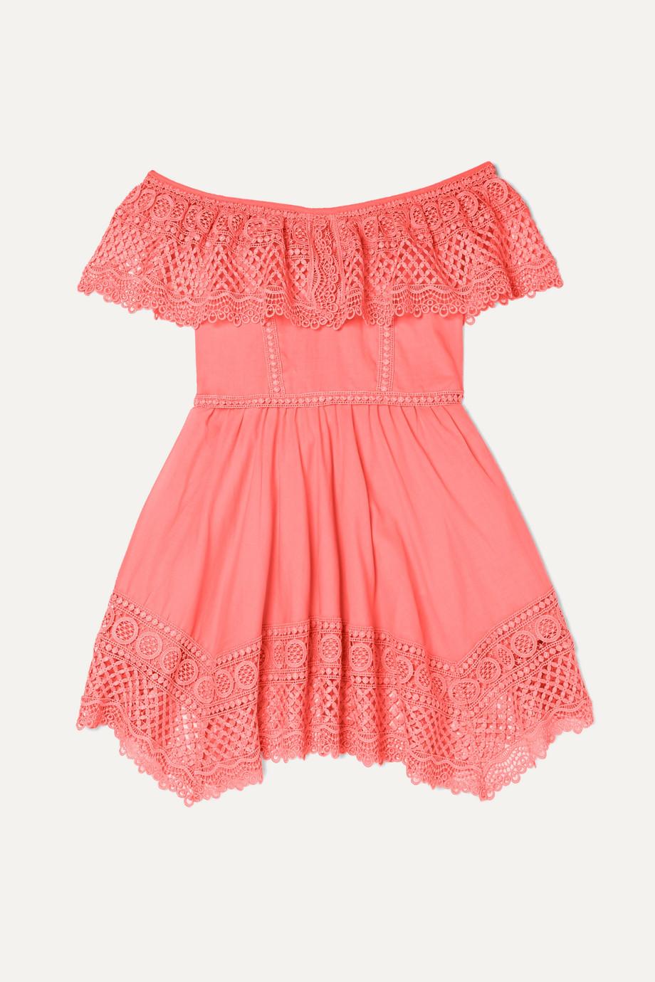 Charo Ruiz Kids Vaiana crocheted lace-paneled cotton-blend dress