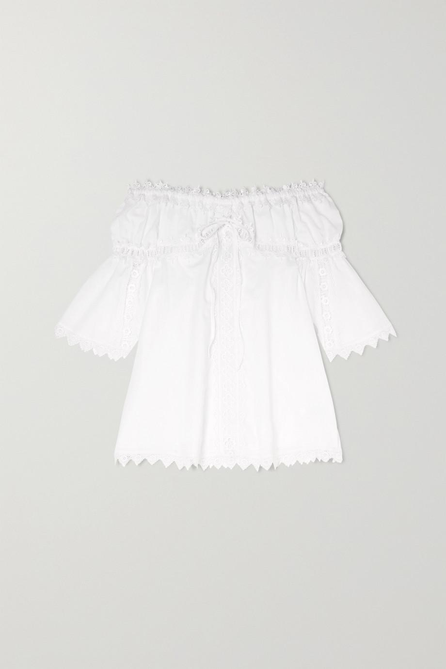 Charo Ruiz Kids Campana off-the-shoulder crocheted lace-paneled cotton-blend dress
